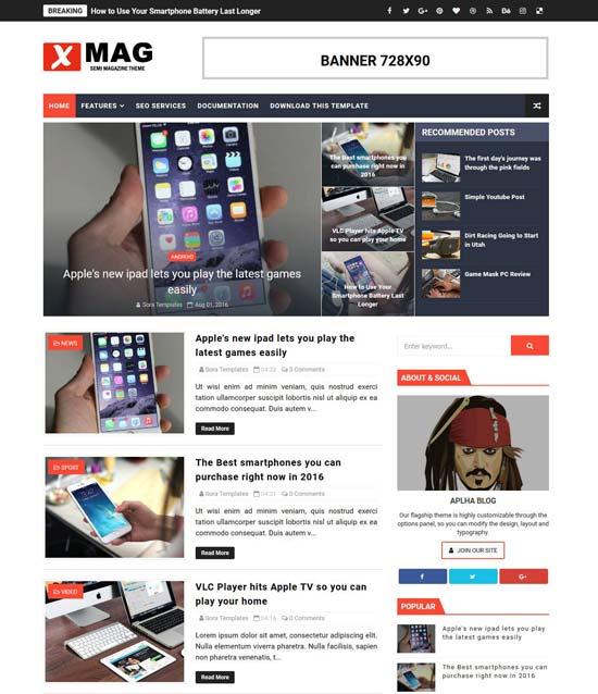 x-mag-blogger-template - 110+ FREE RESPONSIVE BLOGGER TEMPLATES [year]