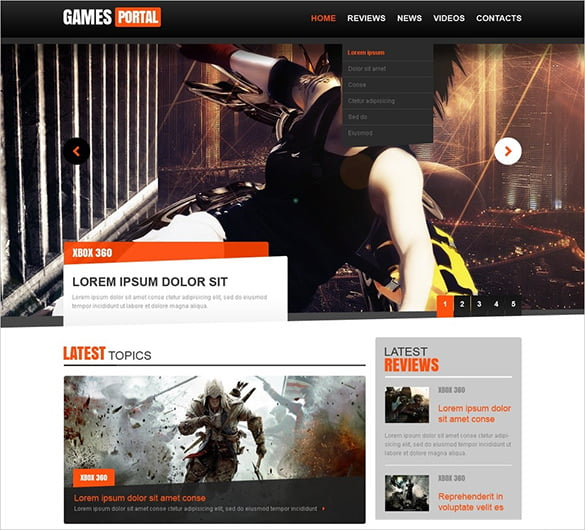 1920px-HTML-JS-Website-Template - 57+ Best Gaming HTML Website Templates [year]