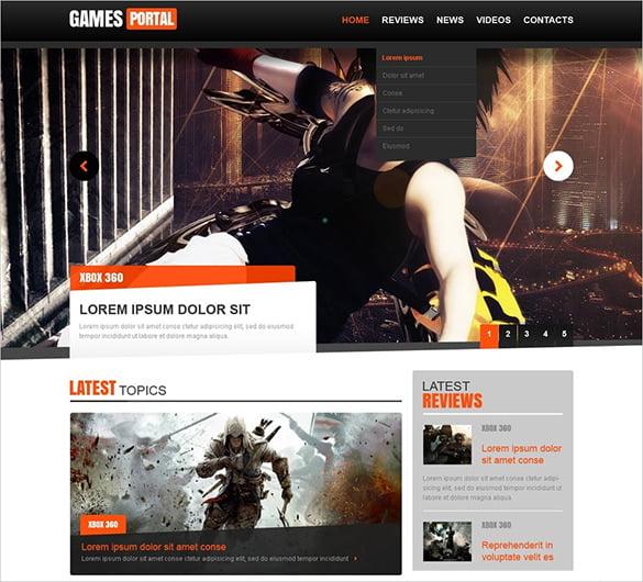 1920px-HTML-JS-Website-Template - 50 Best Gaming HTML Website Templates 2019
