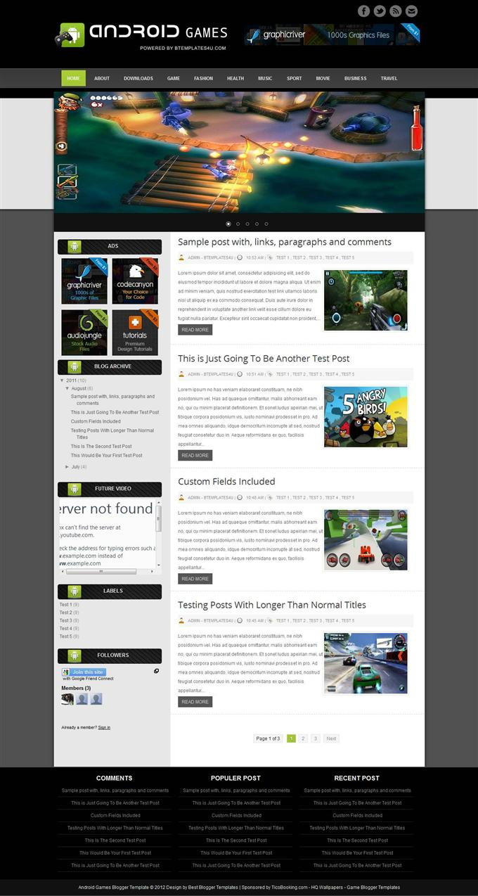 Android-Games-Custom - 50+ Top Free Gaming Responsive Blogger Templates 2019