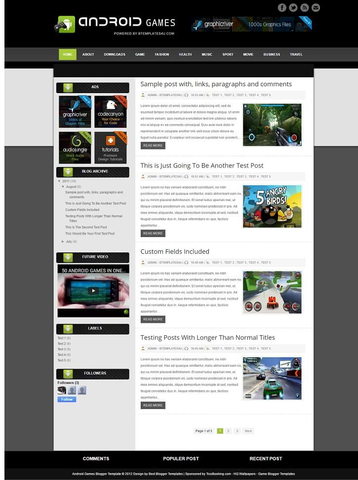 Android-Games-Template-1 - 50+ Top Free Gaming Responsive Blogger Templates 2019