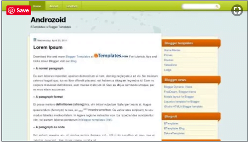 Androzoid - 50+ Top Free Web 2.0 Blogger Templates [year]