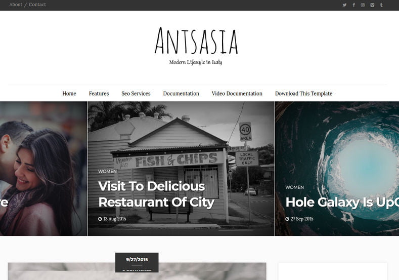 Antsasia-Blogger-Template - 53+ Top BEST Free Minimalist Blogger Templates [year]