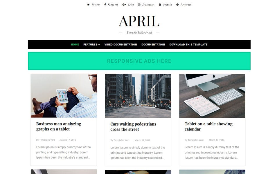 April-Responsive-Blogger-Template - 53+ Blogger Top Free Grid Style Templates [year]