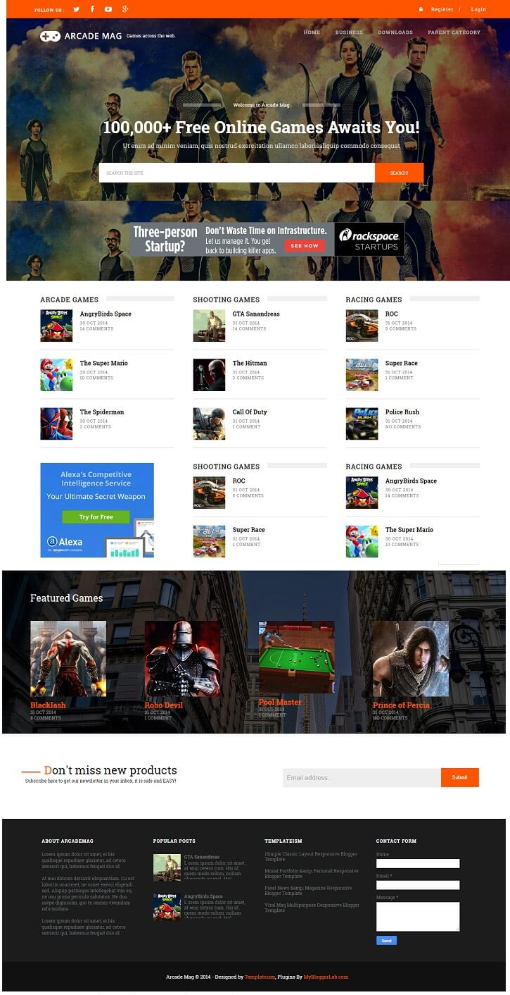 Arcade-Mag-Gaming-Blogger-Template - 50+ Top Free Gaming Responsive Blogger Templates 2019