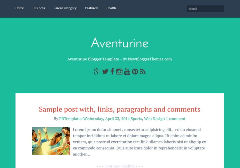 Aventurine-Blogger-Template-2 - 54+ Top BEST Free One Page Blogger Templates [year]