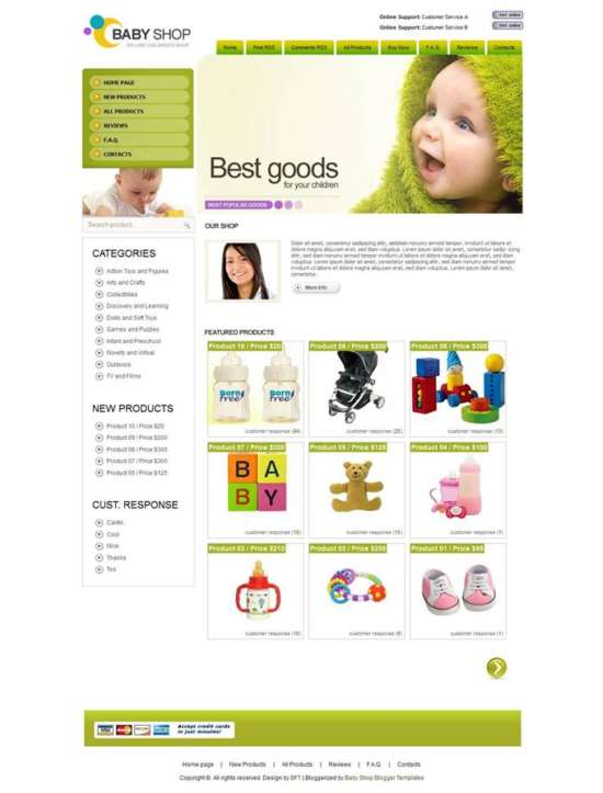 Baby-Shop-Custom-1 - 60+ Top Free Ecommerce Blogger Templates 2019