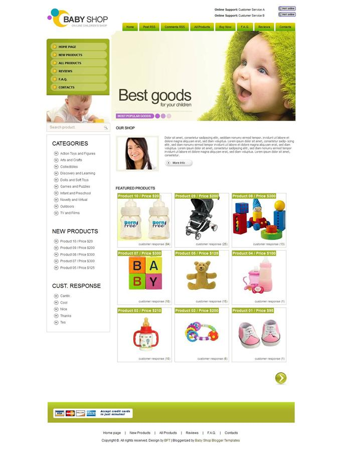 Baby-Shop-Custom - 60+ Top Free Ecommerce Blogger Templates [year]