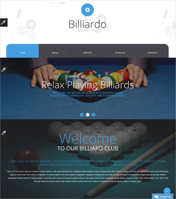 Billiards-Website-Template- - 50 Best Gaming HTML Website Templates 2019