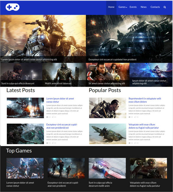 Black-and-White-Game-Portal-Website-Template - 50 Best Gaming HTML Website Templates 2019