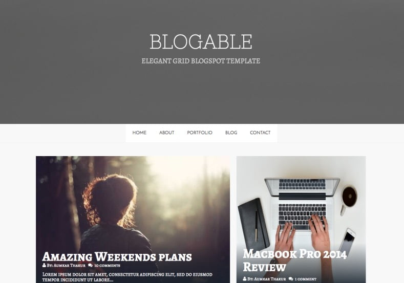 Blogable-Blogger-Template-2 - 54+ Top BEST Free One Page Blogger Templates [year]