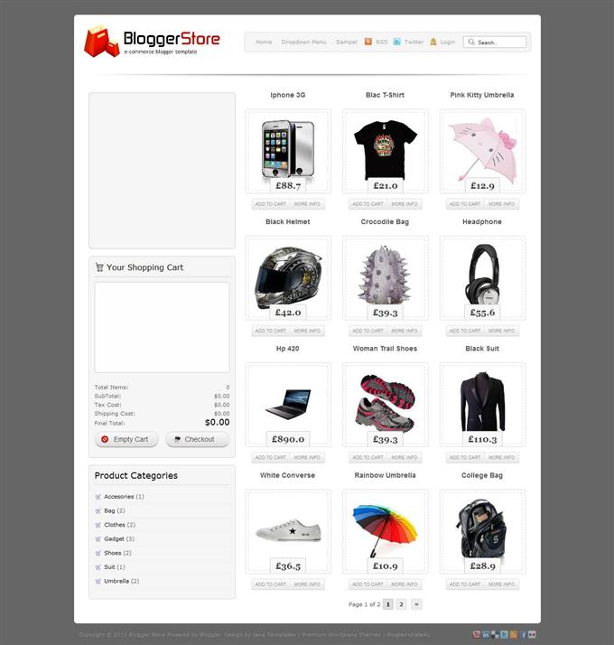 Blogger-Store-Custom - 60+ Top Free Ecommerce Blogger Templates [year]
