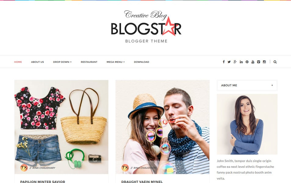 Blogstar-Clean-Responsive-Blogger-Template - 53+ Blogger Top Free Grid Style Templates [year]