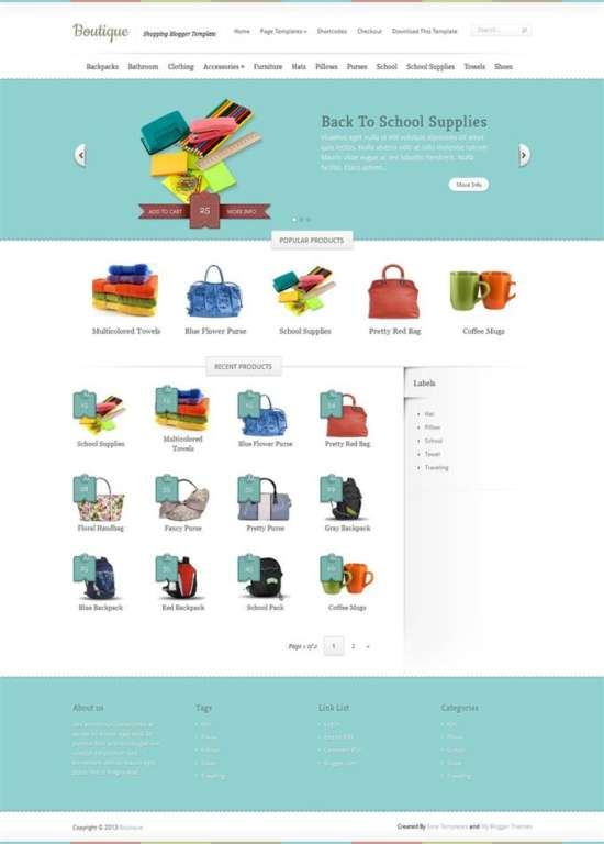 Boutique-Custom - 60+ Top Free Ecommerce Blogger Templates [year]
