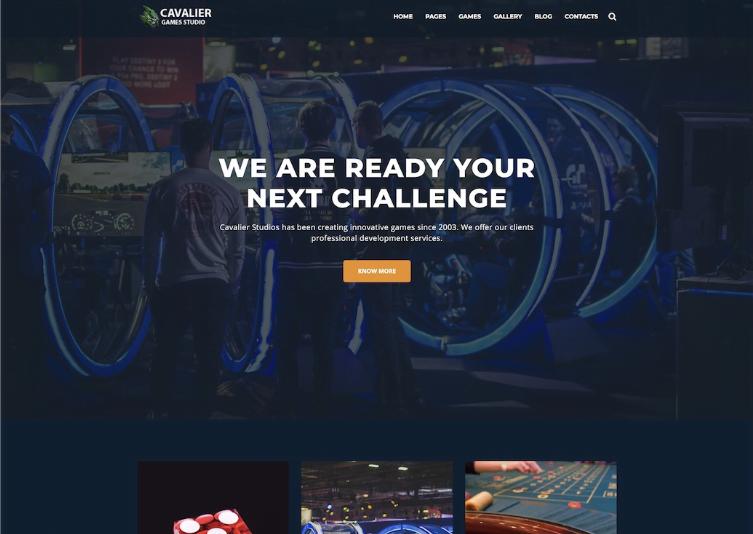 Cavalier - 50 Best Gaming HTML Website Templates 2019