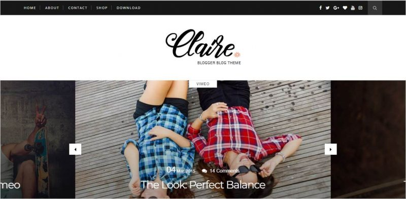 Claire-800x392 - 53+ Top BEST Free Minimalist Blogger Templates [year]