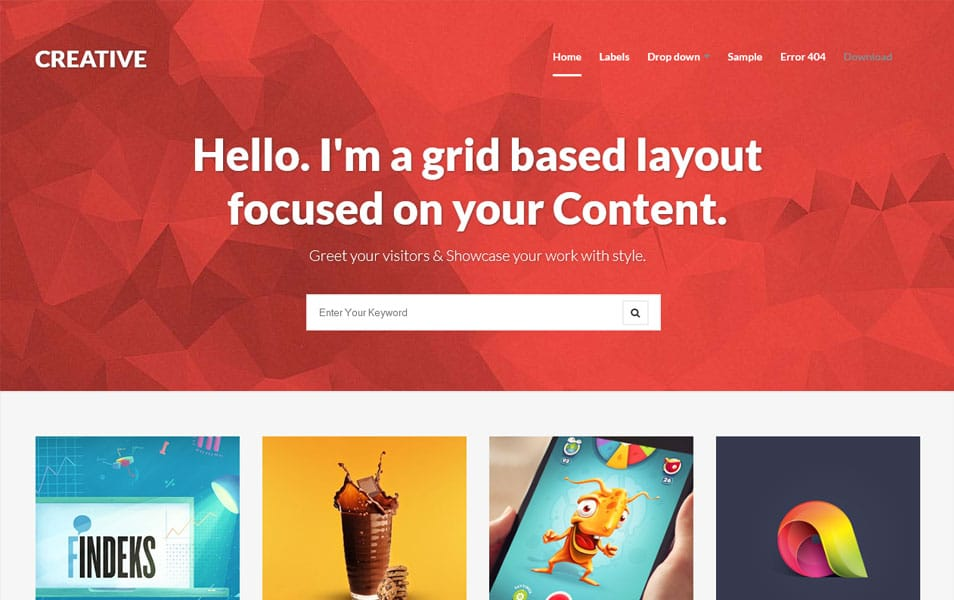 Creative-Clean-Responsive-Blogger-Template2 - 50+ Top Free Grid Style Blogger Templates 2019