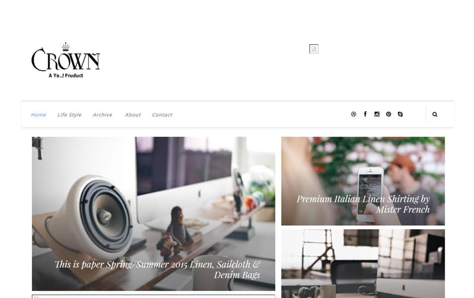 Crown-Responsive-Blogger-Template - 53+ Top BEST Free Minimalist Blogger Templates [year]