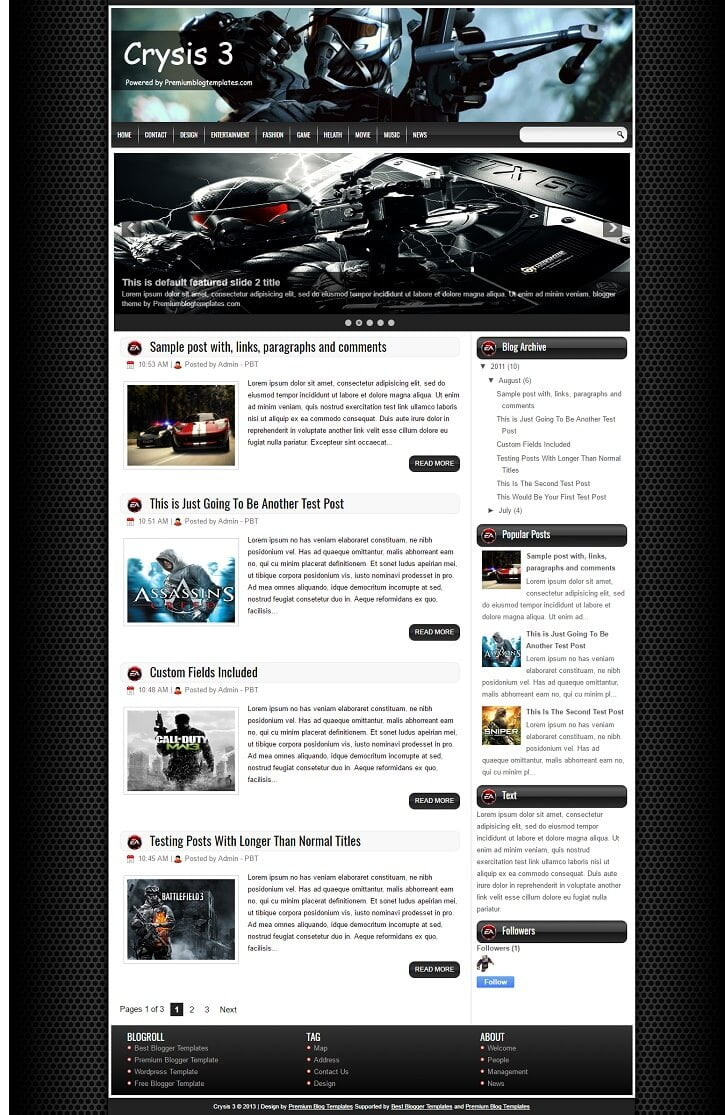 Crysis-3-Blogger-Template - 50+ Top Free Gaming Responsive Blogger Templates 2019