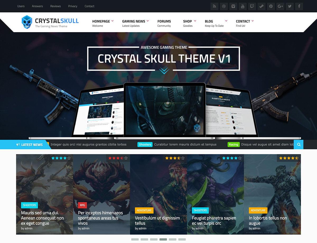 CrystalSkull-Gaming-Magazine-WordPress-Theme - 50+ Best Video Games WordPress Themes 2019