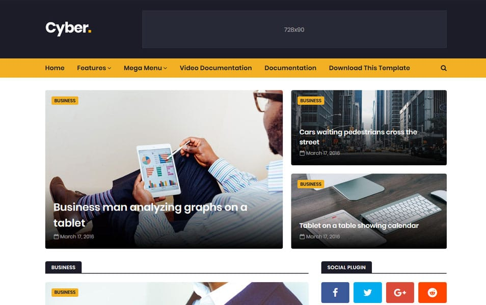 Cyber-Responsive-Blogger-Template - 111+ Blogger Top Free Magazine Style Templates [year]