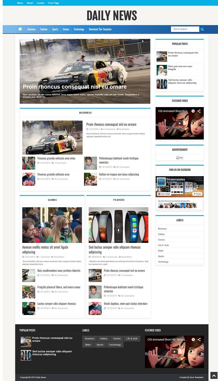 Daily-News-Magazine-Gaming-Template - 50+ Top Free Gaming Responsive Blogger Templates 2019