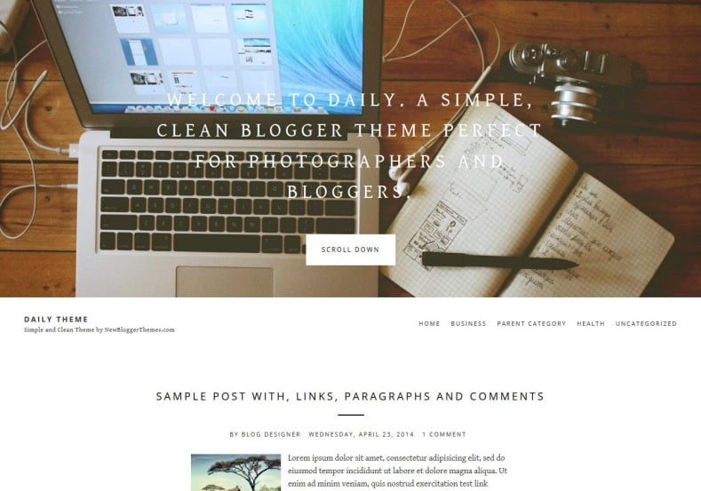 Daily-Theme-Blogger-Template - 54+ Top BEST Free One Page Blogger Templates [year]