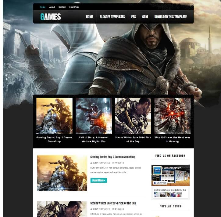 Dark-Mag-Games-Blogger-Template - 50+ Top Free Gaming Responsive Blogger Templates 2019