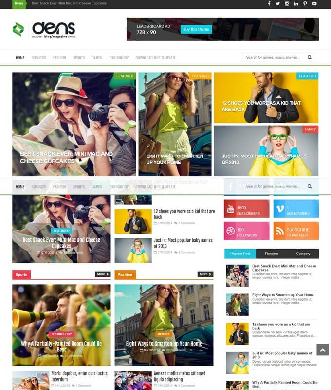 Den-Magazine-Blogger-Template - 50+ Top Free 3D Blogger Templates 2019