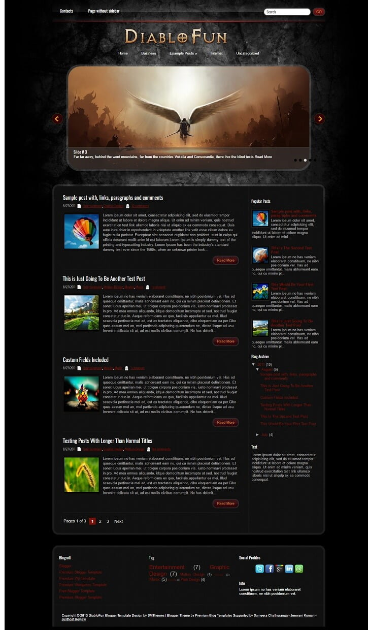 DiabloFun-Gaming-Blogger-Template - 50+ Top Free Gaming Responsive Blogger Templates 2019