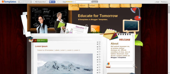 Educate-for-Tomorrow-1024x449 - 50+ Top Free Education Blogger Templates 2019