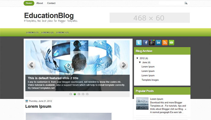 EducationBlog - 50+ Top Free Education Blogger Templates 2019