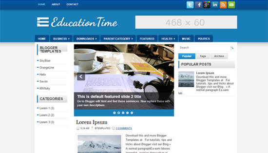 EducationTime - 50+ Top Free Education Blogger Templates 2019