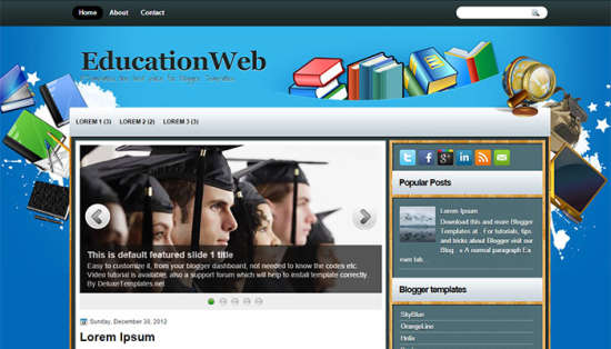 EducationWeb - 50+ Top Free Education Blogger Templates 2019