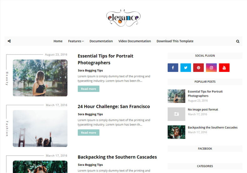 Elegance-Blogger-Template-4 - 53+ Top BEST Free Minimalist Blogger Templates [year]