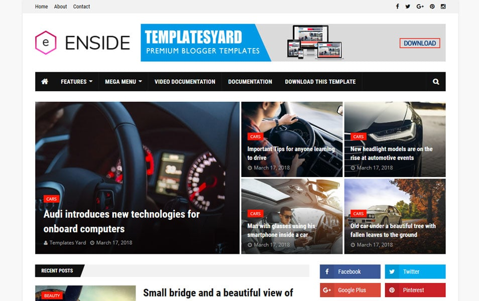 Enside-Responsive-Blogger-Template - 111+ Blogger Top Free Magazine Style Templates [year]