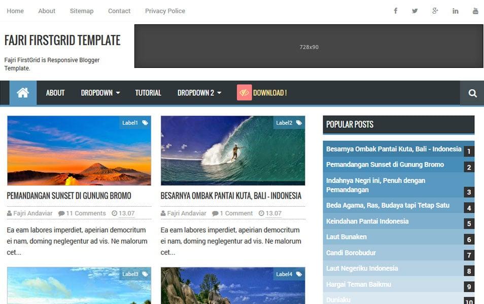 Fajri-FirstGrid-Responsive-SEO-Blogger-Templates - 50+ Top Free Grid Style Blogger Templates 2019