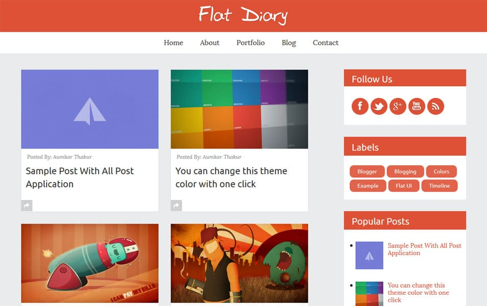 Flat-Diary-Premium-Responsive-Blogger-Template - 50+ Top Free Grid Style Blogger Templates 2019