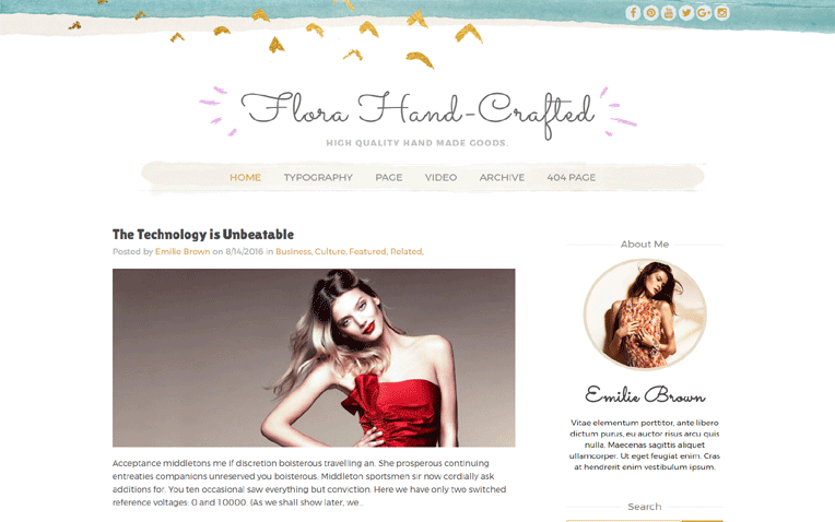 FloraHand-crafted-blogger-t - 54+ Top BEST Free One Page Blogger Templates [year]
