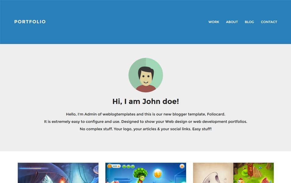 Foliocard-Responsive-Portfolio-Blogger-Template - 50+ Top Free Grid Style Blogger Templates 2019