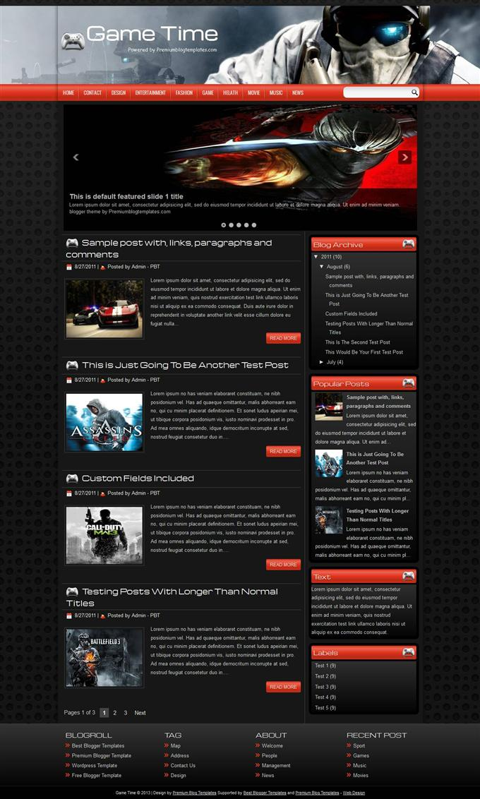 Game-Time-Blogger-Template-Custom-1 - 50+ Top Free Gaming Responsive Blogger Templates 2019