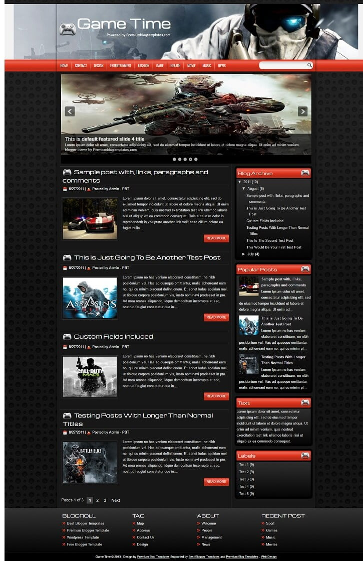 Game-Time-Blogger-Template - 50+ Top Free Gaming Responsive Blogger Templates 2019
