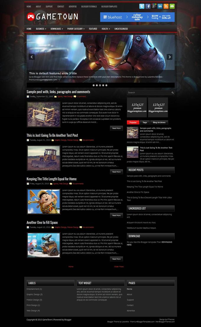 GameTown-Blogger-Template-Custom - 50+ Top Free Gaming Responsive Blogger Templates 2019