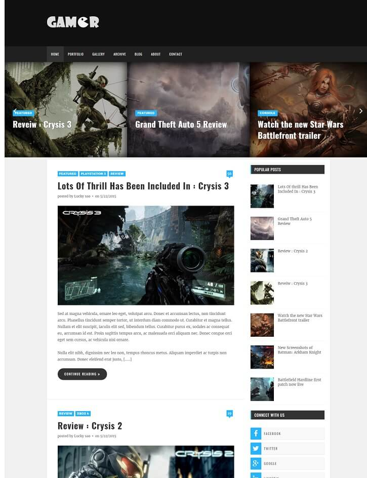 Gamer-Blogger-Template - 50+ Top Free Gaming Responsive Blogger Templates 2019