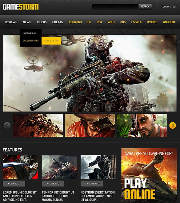 Games-Responsive-Website-Template - 50 Best Gaming HTML Website Templates 2019