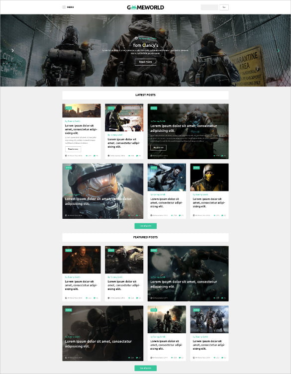 Gameworld-WordPress-Website-Theme - 50 Best Gaming HTML Website Templates 2019