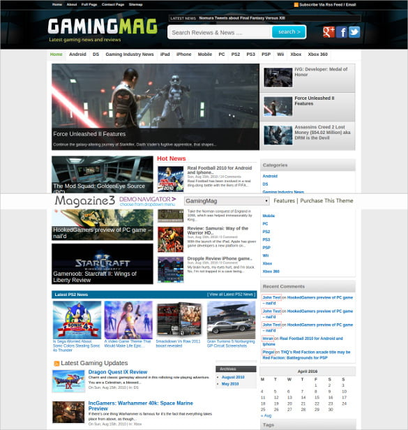 Gaming-News-Website-Theme - 57+ Best Gaming HTML Website Templates [year]