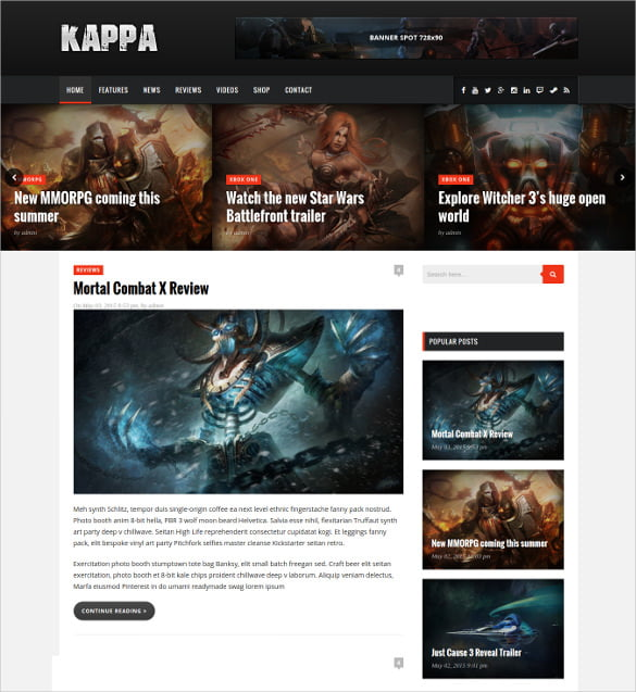Gaming-WordPress-Website-Blog-Theme - 50 Best Gaming HTML Website Templates 2019