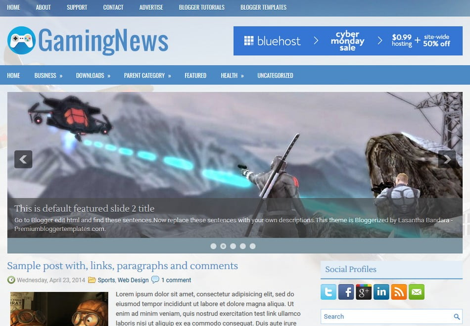 GamingNews-Blogger-Template - 50+ Top Free 3D Blogger Templates 2019