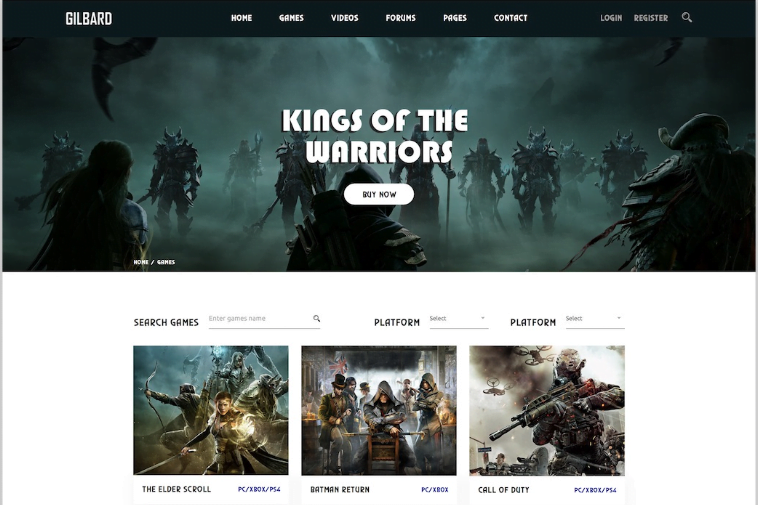 Gilbard - 57+ Best Gaming HTML Website Templates [year]